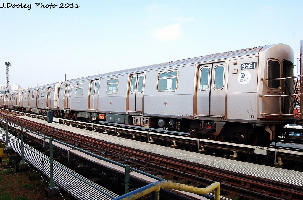 (334k, 1024x677)<br><b>Country:</b> United States<br><b>City:</b> New York<br><b>System:</b> New York City Transit<br><b>Location:</b> Coney Island Yard<br><b>Car:</b> R-160A (Option 1) (Alstom, 2008-2009, 5 car sets)  9561 <br><b>Photo by:</b> John Dooley<br><b>Date:</b> 8/26/2011<br><b>Viewed (this week/total):</b> 0 / 98
