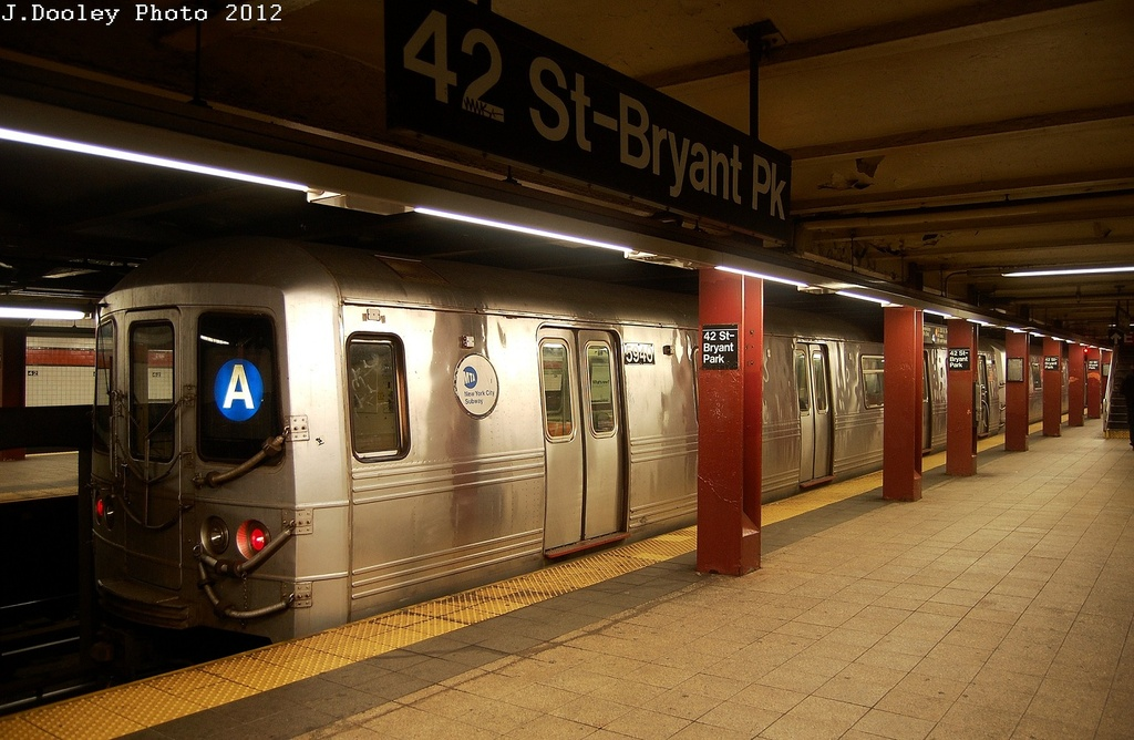 (309k, 1024x668)<br><b>Country:</b> United States<br><b>City:</b> New York<br><b>System:</b> New York City Transit<br><b>Line:</b> IND 6th Avenue Line<br><b>Location:</b> 42nd Street/Bryant Park <br><b>Route:</b> A reroute<br><b>Car:</b> R-46 (Pullman-Standard, 1974-75) 5946 <br><b>Photo by:</b> John Dooley<br><b>Date:</b> 3/12/2012<br><b>Viewed (this week/total):</b> 5 / 677