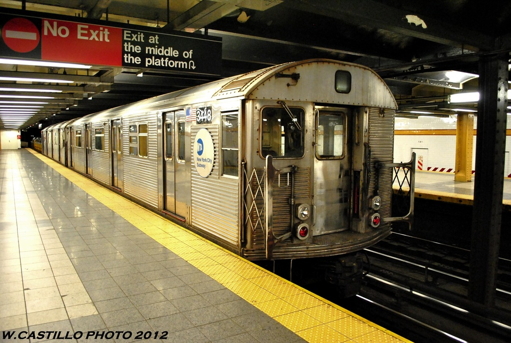 (301k, 1024x687)<br><b>Country:</b> United States<br><b>City:</b> New York<br><b>System:</b> New York City Transit<br><b>Line:</b> IND 8th Avenue Line<br><b>Location:</b> 14th Street <br><b>Route:</b> Work Service<br><b>Car:</b> R-32 (Budd, 1964)  3448 <br><b>Photo by:</b> Wilfredo Castillo<br><b>Date:</b> 6/2012<br><b>Viewed (this week/total):</b> 3 / 715