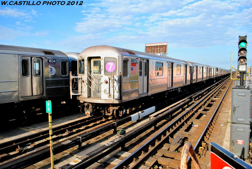 (303k, 1024x687)<br><b>Country:</b> United States<br><b>City:</b> New York<br><b>System:</b> New York City Transit<br><b>Line:</b> IRT Flushing Line<br><b>Location:</b> 33rd Street/Rawson Street <br><b>Route:</b> 7<br><b>Car:</b> R-62A (Bombardier, 1984-1987)  2236 <br><b>Photo by:</b> Wilfredo Castillo<br><b>Date:</b> 6/2012<br><b>Viewed (this week/total):</b> 13 / 1125