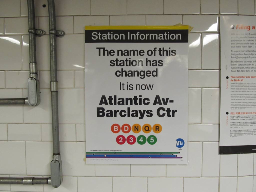 (80k, 1024x768)<br><b>Country:</b> United States<br><b>City:</b> New York<br><b>System:</b> New York City Transit<br><b>Line:</b> BMT Brighton Line<br><b>Location:</b> Atlantic Avenue <br><b>Photo by:</b> Robbie Rosenfeld<br><b>Date:</b> 6/12/2012<br><b>Notes:</b> Barclays Center poster.<br><b>Viewed (this week/total):</b> 1 / 1149