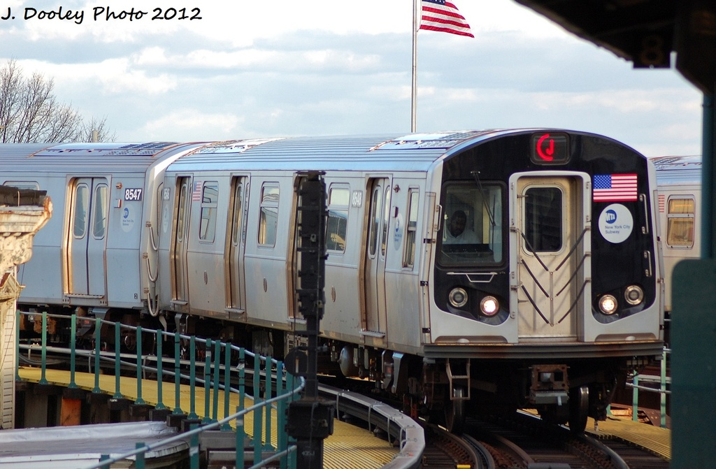 (296k, 1024x671)<br><b>Country:</b> United States<br><b>City:</b> New York<br><b>System:</b> New York City Transit<br><b>Line:</b> BMT Nassau Street/Jamaica Line<br><b>Location:</b> Crescent Street <br><b>Route:</b> J<br><b>Car:</b> R-160A-1 (Alstom, 2005-2008, 4 car sets)  8548 <br><b>Photo by:</b> John Dooley<br><b>Date:</b> 1/2/2012<br><b>Viewed (this week/total):</b> 3 / 202