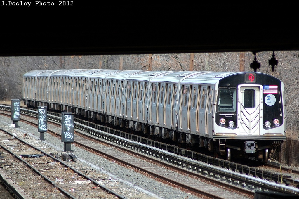 (364k, 1024x681)<br><b>Country:</b> United States<br><b>City:</b> New York<br><b>System:</b> New York City Transit<br><b>Line:</b> BMT Sea Beach Line<br><b>Location:</b> Fort Hamilton Parkway <br><b>Route:</b> N<br><b>Car:</b> R-160B (Kawasaki, 2005-2008)  8798 <br><b>Photo by:</b> John Dooley<br><b>Date:</b> 3/8/2012<br><b>Viewed (this week/total):</b> 0 / 226