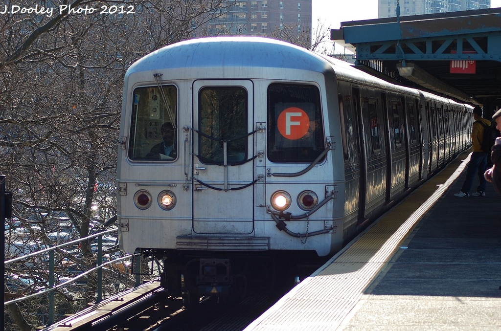 (389k, 1024x677)<br><b>Country:</b> United States<br><b>City:</b> New York<br><b>System:</b> New York City Transit<br><b>Line:</b> BMT Culver Line<br><b>Location:</b> Neptune Avenue <br><b>Route:</b> F<br><b>Car:</b> R-46 (Pullman-Standard, 1974-75) 5708 <br><b>Photo by:</b> John Dooley<br><b>Date:</b> 1/7/2012<br><b>Viewed (this week/total):</b> 2 / 339