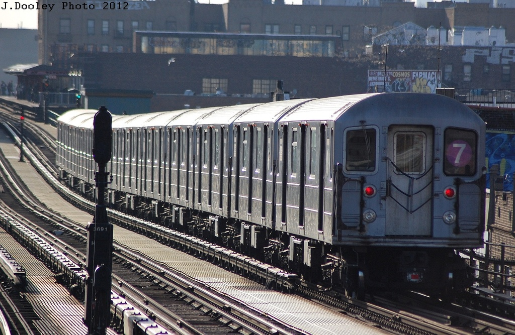 (377k, 1024x667)<br><b>Country:</b> United States<br><b>City:</b> New York<br><b>System:</b> New York City Transit<br><b>Line:</b> IRT Flushing Line<br><b>Location:</b> Junction Boulevard <br><b>Route:</b> 7<br><b>Car:</b> R-62A (Bombardier, 1984-1987)  2080 <br><b>Photo by:</b> John Dooley<br><b>Date:</b> 3/6/2012<br><b>Viewed (this week/total):</b> 2 / 173