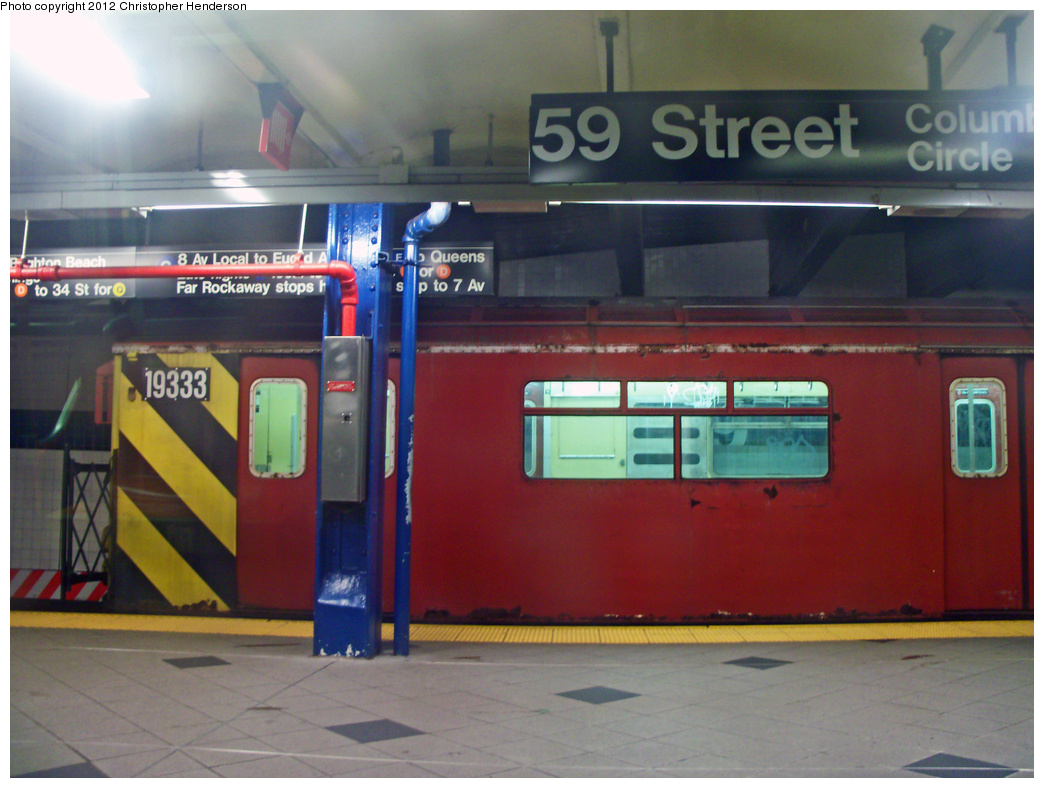 (436k, 1044x788)<br><b>Country:</b> United States<br><b>City:</b> New York<br><b>System:</b> New York City Transit<br><b>Line:</b> IND 8th Avenue Line<br><b>Location:</b> 59th Street/Columbus Circle <br><b>Route:</b> Work Service<br><b>Car:</b> R-33 World's Fair (St. Louis, 1963-64) 9333 <br><b>Photo by:</b> Christopher Henderson<br><b>Date:</b> 1/27/2012<br><b>Viewed (this week/total):</b> 2 / 1220