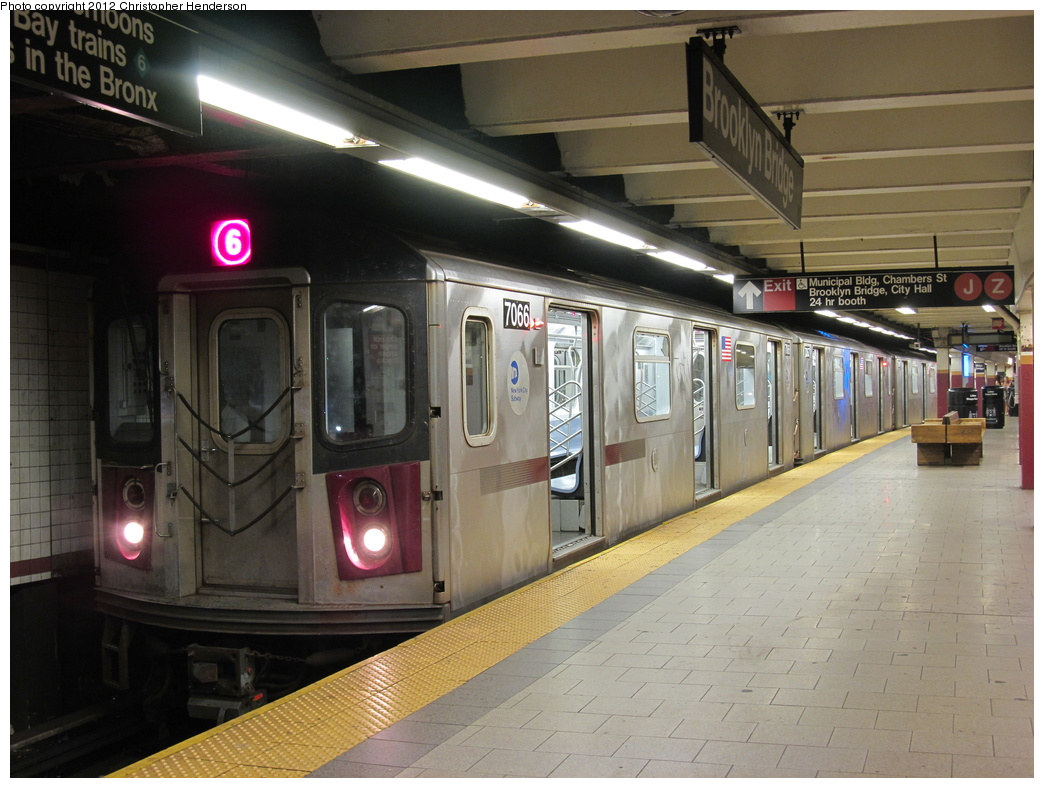 (305k, 1044x788)<br><b>Country:</b> United States<br><b>City:</b> New York<br><b>System:</b> New York City Transit<br><b>Line:</b> IRT East Side Line<br><b>Location:</b> Brooklyn Bridge/City Hall <br><b>Route:</b> 6<br><b>Car:</b> R-142 (Option Order, Bombardier, 2002-2003)  7066 <br><b>Photo by:</b> Christopher Henderson<br><b>Date:</b> 7/7/2012<br><b>Viewed (this week/total):</b> 2 / 1104