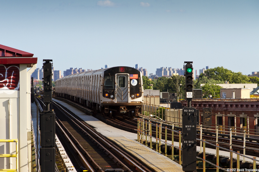 (352k, 1024x682)<br><b>Country:</b> United States<br><b>City:</b> New York<br><b>System:</b> New York City Transit<br><b>Line:</b> BMT Culver Line<br><b>Location:</b> 18th Avenue <br><b>Route:</b> F<br><b>Car:</b> R-160A/R-160B Series (Number Unknown)  <br><b>Photo by:</b> David Tropiansky<br><b>Date:</b> 7/2/2012<br><b>Viewed (this week/total):</b> 0 / 244