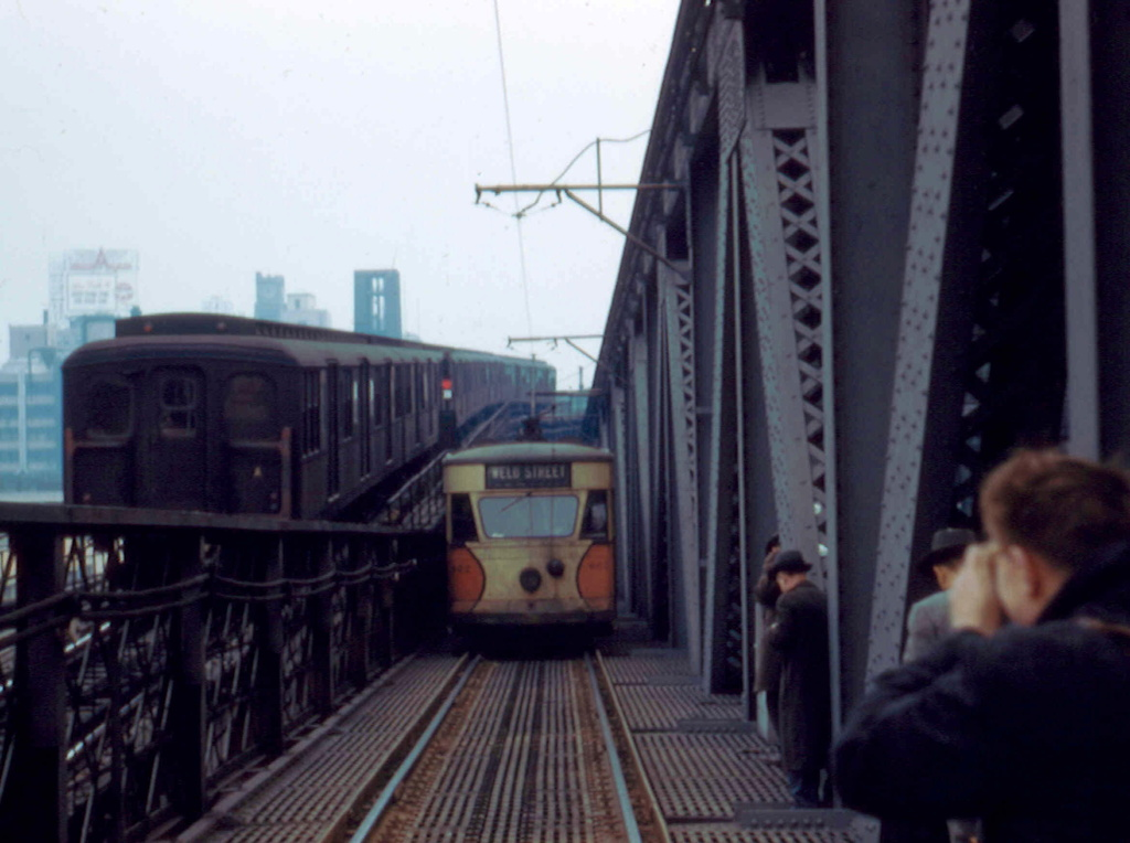 (207k, 1024x764)<br><b>Country:</b> United States<br><b>City:</b> New York<br><b>System:</b> Queensborough Bridge Railway<br><b>Location:</b> Queensborough Bridge <br><b>Car:</b>  602 <br><b>Collection of:</b> Frank Pfuhler<br><b>Date:</b> 2/23/1957<br><b>Notes:</b> With BMT Standards - westbound trolley.<br><b>Viewed (this week/total):</b> 2 / 507