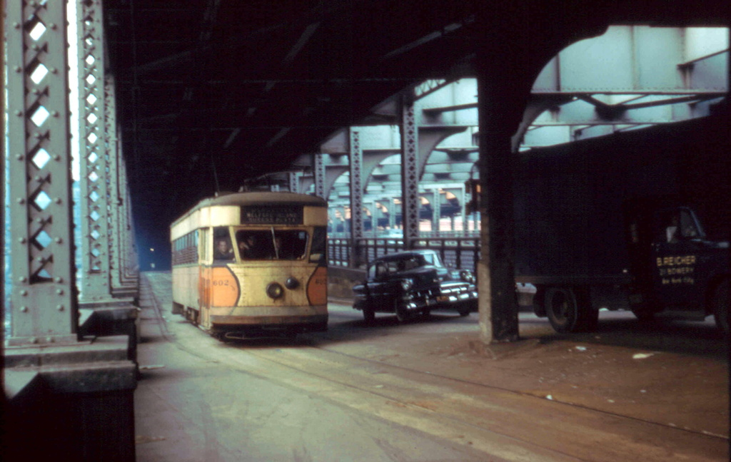 (219k, 1024x648)<br><b>Country:</b> United States<br><b>City:</b> New York<br><b>System:</b> Queensborough Bridge Railway<br><b>Location:</b> Manhattan Terminal <br><b>Car:</b>  602 <br><b>Collection of:</b> Frank Pfuhler<br><b>Date:</b> 2/23/1957<br><b>Viewed (this week/total):</b> 0 / 372