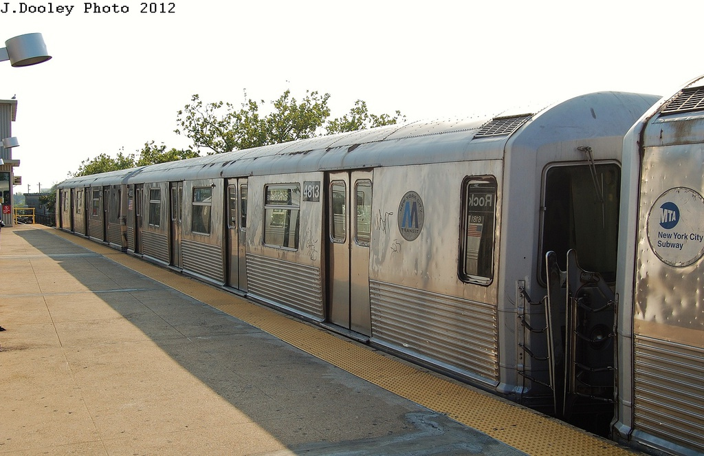 (304k, 1024x663)<br><b>Country:</b> United States<br><b>City:</b> New York<br><b>System:</b> New York City Transit<br><b>Line:</b> IND Rockaway<br><b>Location:</b> Mott Avenue/Far Rockaway <br><b>Route:</b> A<br><b>Car:</b> R-42 (St. Louis, 1969-1970)  4813 <br><b>Photo by:</b> John Dooley<br><b>Date:</b> 7/26/2012<br><b>Viewed (this week/total):</b> 5 / 346