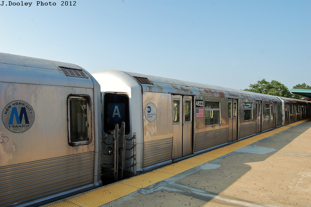 (291k, 1024x680)<br><b>Country:</b> United States<br><b>City:</b> New York<br><b>System:</b> New York City Transit<br><b>Line:</b> IND Rockaway<br><b>Location:</b> Mott Avenue/Far Rockaway <br><b>Route:</b> A<br><b>Car:</b> R-42 (St. Louis, 1969-1970)  4822 <br><b>Photo by:</b> John Dooley<br><b>Date:</b> 7/26/2012<br><b>Viewed (this week/total):</b> 0 / 880