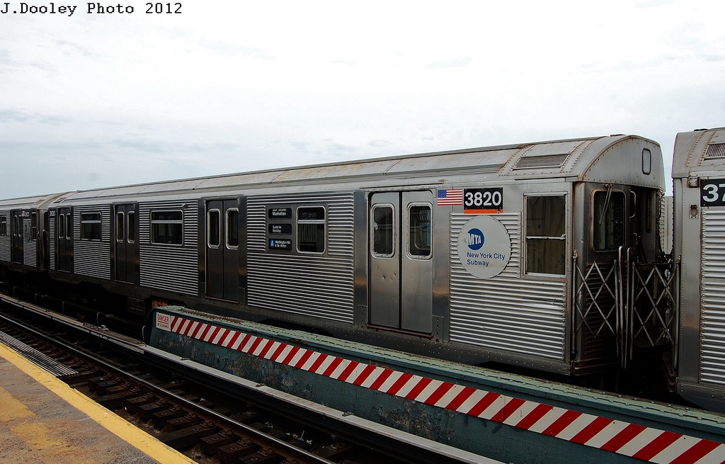 (299k, 1024x655)<br><b>Country:</b> United States<br><b>City:</b> New York<br><b>System:</b> New York City Transit<br><b>Line:</b> IND Fulton Street Line<br><b>Location:</b> 111th Street/Greenwood Avenue <br><b>Route:</b> A<br><b>Car:</b> R-32 (Budd, 1964)  3820 <br><b>Photo by:</b> John Dooley<br><b>Date:</b> 5/30/2012<br><b>Viewed (this week/total):</b> 0 / 131