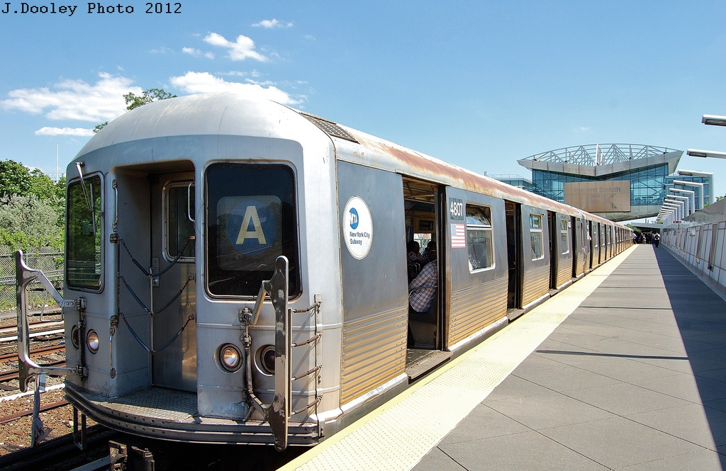 (323k, 1024x665)<br><b>Country:</b> United States<br><b>City:</b> New York<br><b>System:</b> New York City Transit<br><b>Line:</b> IND Rockaway<br><b>Location:</b> Howard Beach <br><b>Route:</b> S<br><b>Car:</b> R-42 (St. Louis, 1969-1970)  4807 <br><b>Photo by:</b> John Dooley<br><b>Date:</b> 5/31/2012<br><b>Viewed (this week/total):</b> 7 / 1040