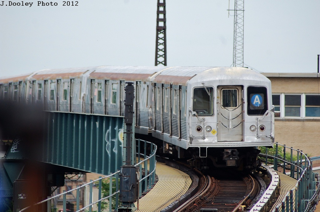 (293k, 1024x679)<br><b>Country:</b> United States<br><b>City:</b> New York<br><b>System:</b> New York City Transit<br><b>Line:</b> IND Fulton Street Line<br><b>Location:</b> Rockaway Boulevard <br><b>Route:</b> A<br><b>Car:</b> R-42 (St. Louis, 1969-1970)   <br><b>Photo by:</b> John Dooley<br><b>Date:</b> 5/30/2012<br><b>Viewed (this week/total):</b> 5 / 605