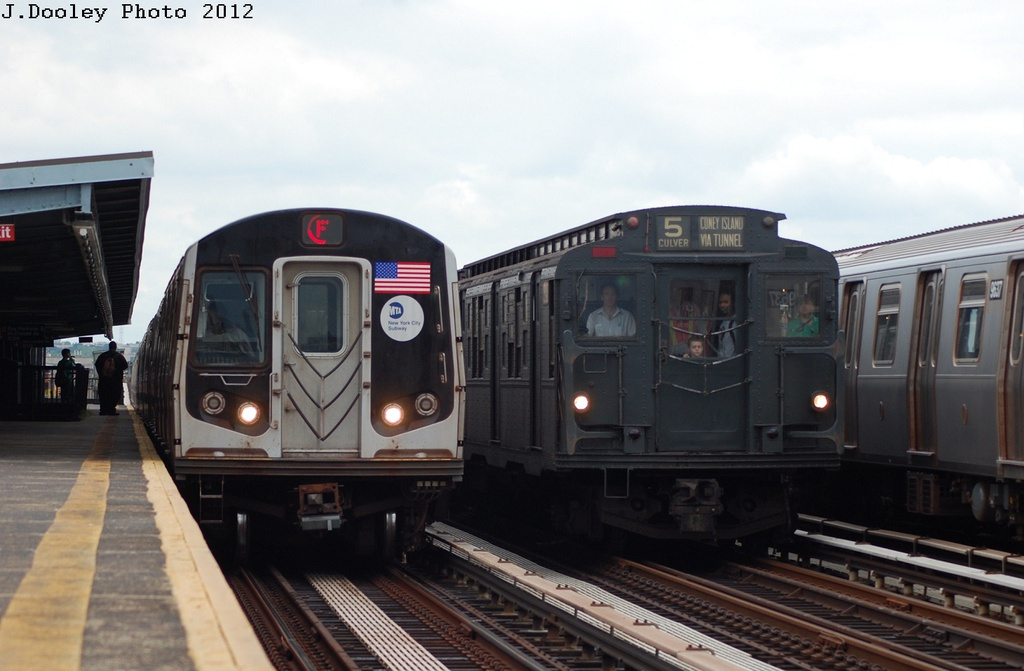 (242k, 1024x671)<br><b>Country:</b> United States<br><b>City:</b> New York<br><b>System:</b> New York City Transit<br><b>Line:</b> BMT Culver Line<br><b>Location:</b> Bay Parkway (22nd Avenue) <br><b>Route:</b> Transit Museum Nostalgia Train<br><b>Car:</b> R-9 (Pressed Steel, 1940)  1802 <br><b>Photo by:</b> John Dooley<br><b>Date:</b> 7/29/2012<br><b>Viewed (this week/total):</b> 1 / 471