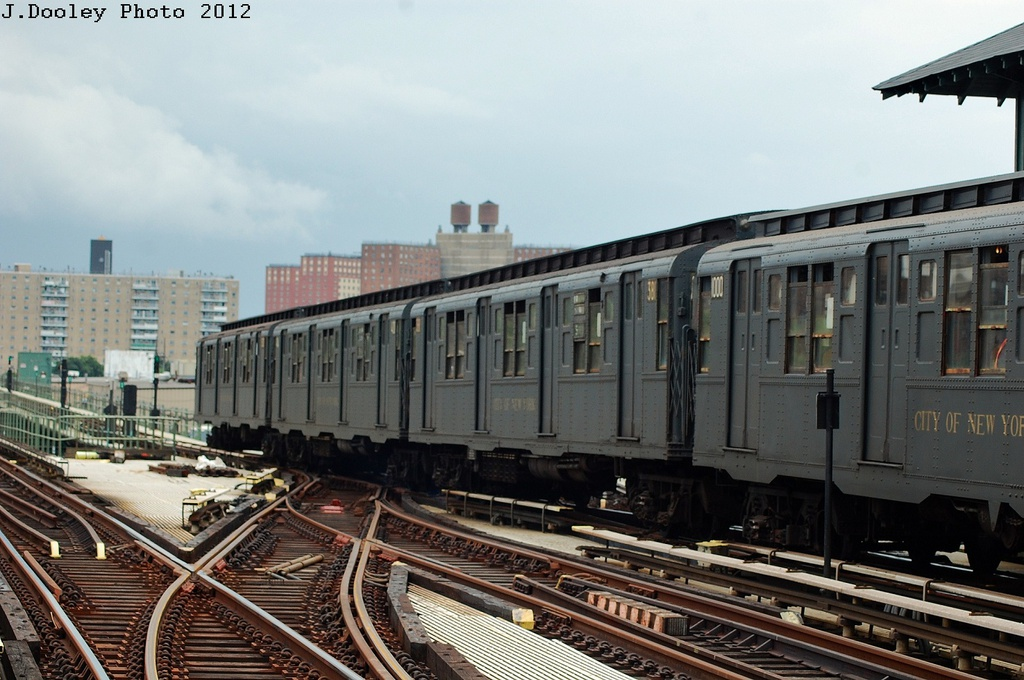 (310k, 1024x680)<br><b>Country:</b> United States<br><b>City:</b> New York<br><b>System:</b> New York City Transit<br><b>Line:</b> BMT Culver Line<br><b>Location:</b> Avenue X <br><b>Route:</b> Transit Museum Nostalgia Train<br><b>Car:</b> R-1 (American Car & Foundry, 1930-1931) 381 <br><b>Photo by:</b> John Dooley<br><b>Date:</b> 7/29/2012<br><b>Viewed (this week/total):</b> 0 / 282