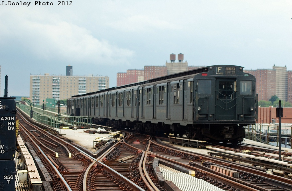 (308k, 1024x671)<br><b>Country:</b> United States<br><b>City:</b> New York<br><b>System:</b> New York City Transit<br><b>Line:</b> BMT Culver Line<br><b>Location:</b> Avenue X <br><b>Route:</b> Transit Museum Nostalgia Train<br><b>Car:</b> R-9 (Pressed Steel, 1940)  1802 <br><b>Photo by:</b> John Dooley<br><b>Date:</b> 7/29/2012<br><b>Viewed (this week/total):</b> 11 / 418