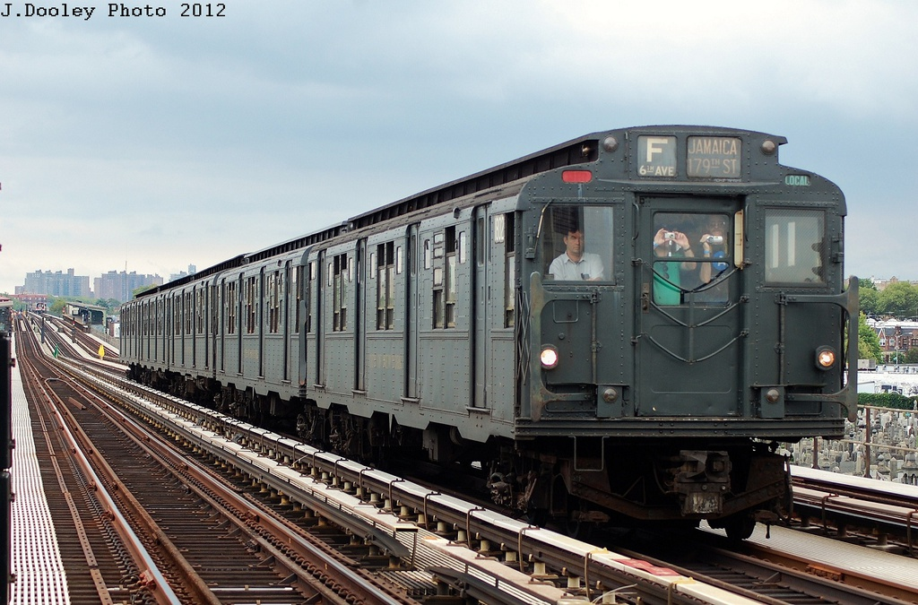 (334k, 1024x675)<br><b>Country:</b> United States<br><b>City:</b> New York<br><b>System:</b> New York City Transit<br><b>Line:</b> BMT Culver Line<br><b>Location:</b> Bay Parkway (22nd Avenue) <br><b>Route:</b> Transit Museum Nostalgia Train<br><b>Car:</b> R-9 (Pressed Steel, 1940)  1802 <br><b>Photo by:</b> John Dooley<br><b>Date:</b> 7/29/2012<br><b>Viewed (this week/total):</b> 8 / 878