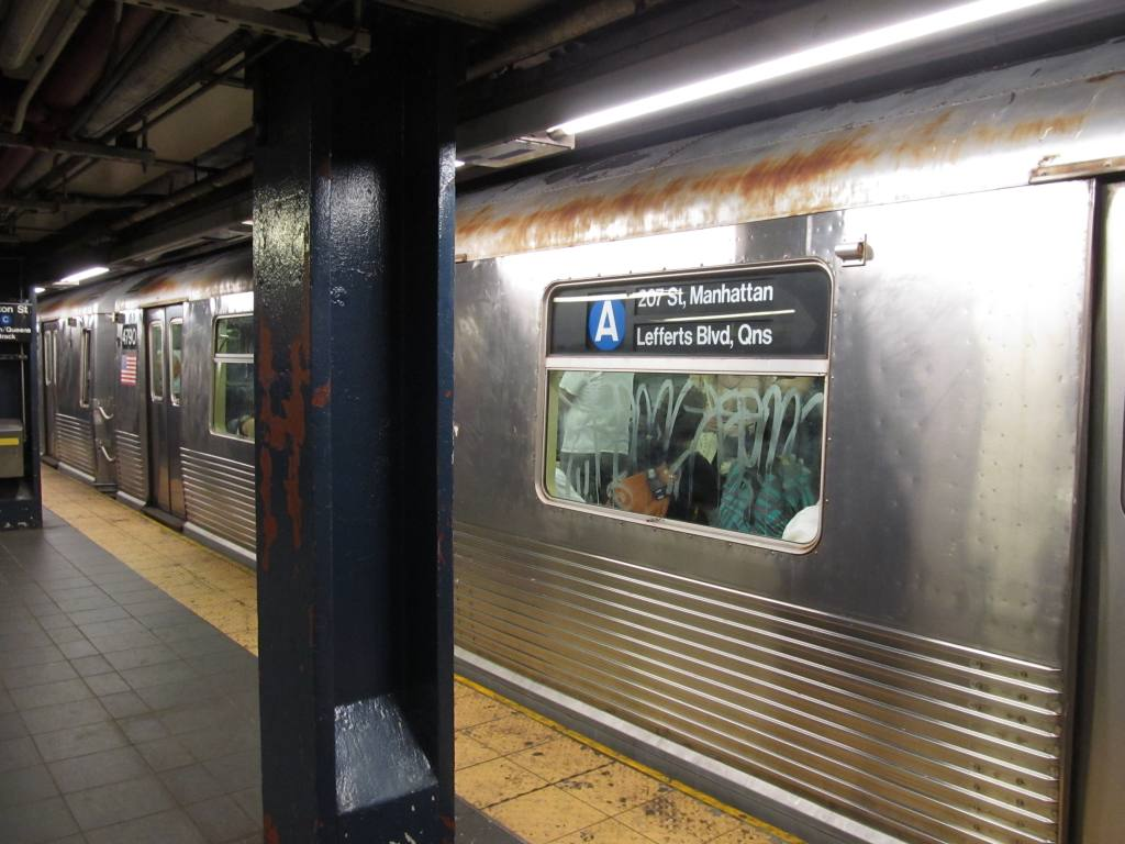 (106k, 1024x768)<br><b>Country:</b> United States<br><b>City:</b> New York<br><b>System:</b> New York City Transit<br><b>Line:</b> IND 8th Avenue Line<br><b>Location:</b> Fulton Street (Broadway/Nassau) <br><b>Route:</b> A<br><b>Car:</b> R-42 (St. Louis, 1969-1970)  4790 <br><b>Photo by:</b> Robbie Rosenfeld<br><b>Date:</b> 7/17/2012<br><b>Viewed (this week/total):</b> 2 / 538