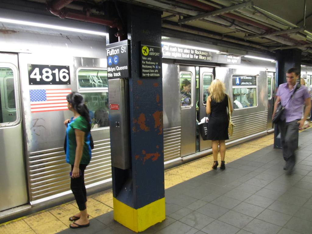 (108k, 1024x768)<br><b>Country:</b> United States<br><b>City:</b> New York<br><b>System:</b> New York City Transit<br><b>Line:</b> IND 8th Avenue Line<br><b>Location:</b> Fulton Street (Broadway/Nassau) <br><b>Route:</b> A<br><b>Car:</b> R-42 (St. Louis, 1969-1970)  4816 <br><b>Photo by:</b> Robbie Rosenfeld<br><b>Date:</b> 7/17/2012<br><b>Viewed (this week/total):</b> 1 / 1585
