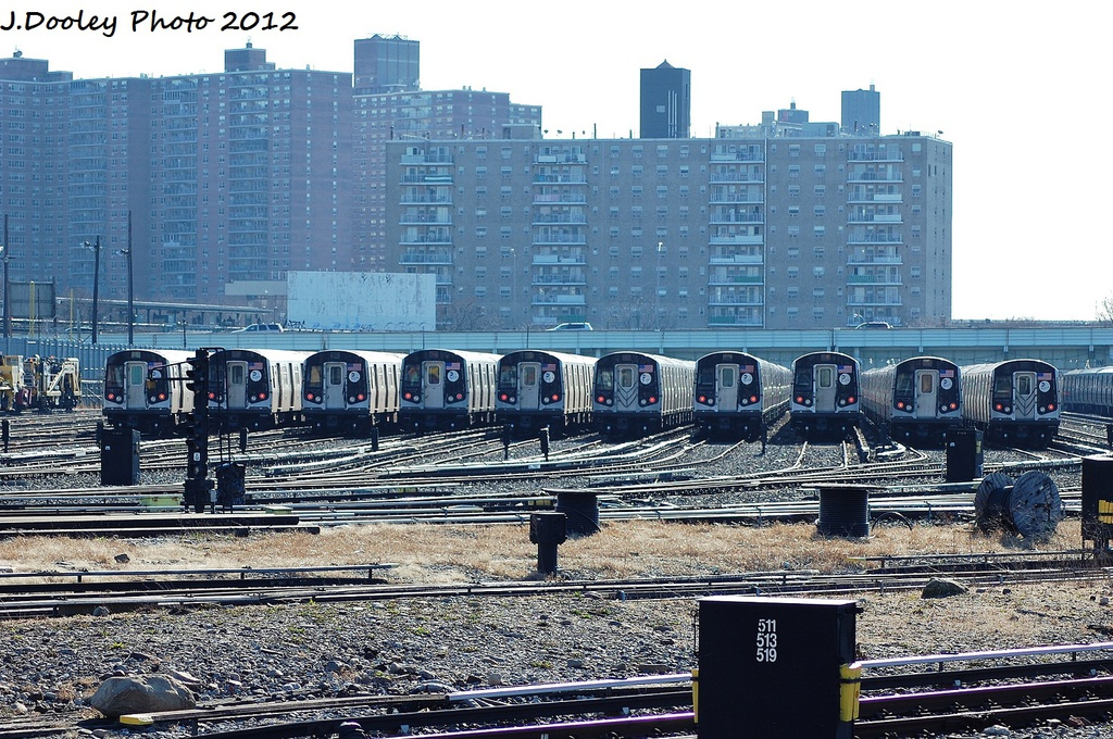 (425k, 1024x680)<br><b>Country:</b> United States<br><b>City:</b> New York<br><b>System:</b> New York City Transit<br><b>Location:</b> Coney Island Yard<br><b>Car:</b> R-160A/R-160B Series (Number Unknown)  <br><b>Photo by:</b> John Dooley<br><b>Date:</b> 1/7/2012<br><b>Viewed (this week/total):</b> 0 / 408