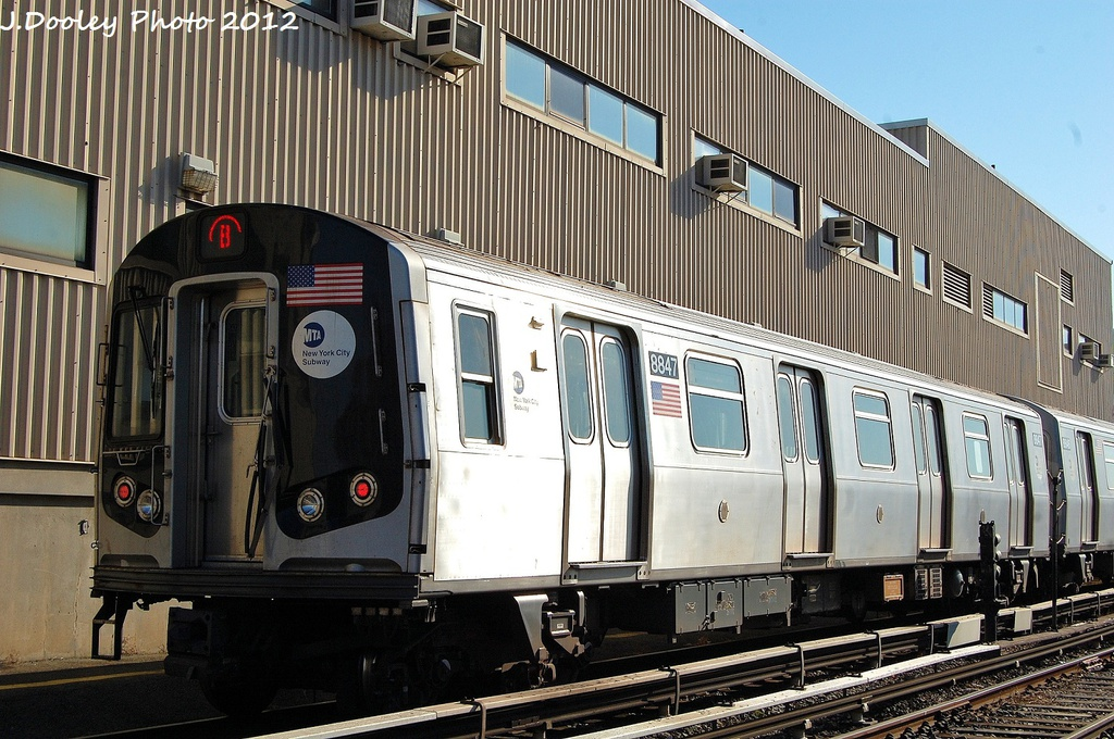 (365k, 1024x680)<br><b>Country:</b> United States<br><b>City:</b> New York<br><b>System:</b> New York City Transit<br><b>Location:</b> Coney Island Yard<br><b>Car:</b> R-160B (Kawasaki, 2005-2008)  8847 <br><b>Photo by:</b> John Dooley<br><b>Date:</b> 1/7/2012<br><b>Viewed (this week/total):</b> 1 / 239