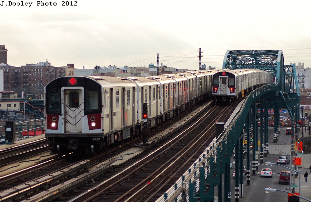 (316k, 1024x665)<br><b>Country:</b> United States<br><b>City:</b> New York<br><b>System:</b> New York City Transit<br><b>Line:</b> IRT Pelham Line<br><b>Location:</b> Elder Avenue <br><b>Route:</b> 6<br><b>Car:</b> R-142 or R-142A (Number Unknown) 75xx <br><b>Photo by:</b> John Dooley<br><b>Date:</b> 2/22/2012<br><b>Viewed (this week/total):</b> 0 / 661