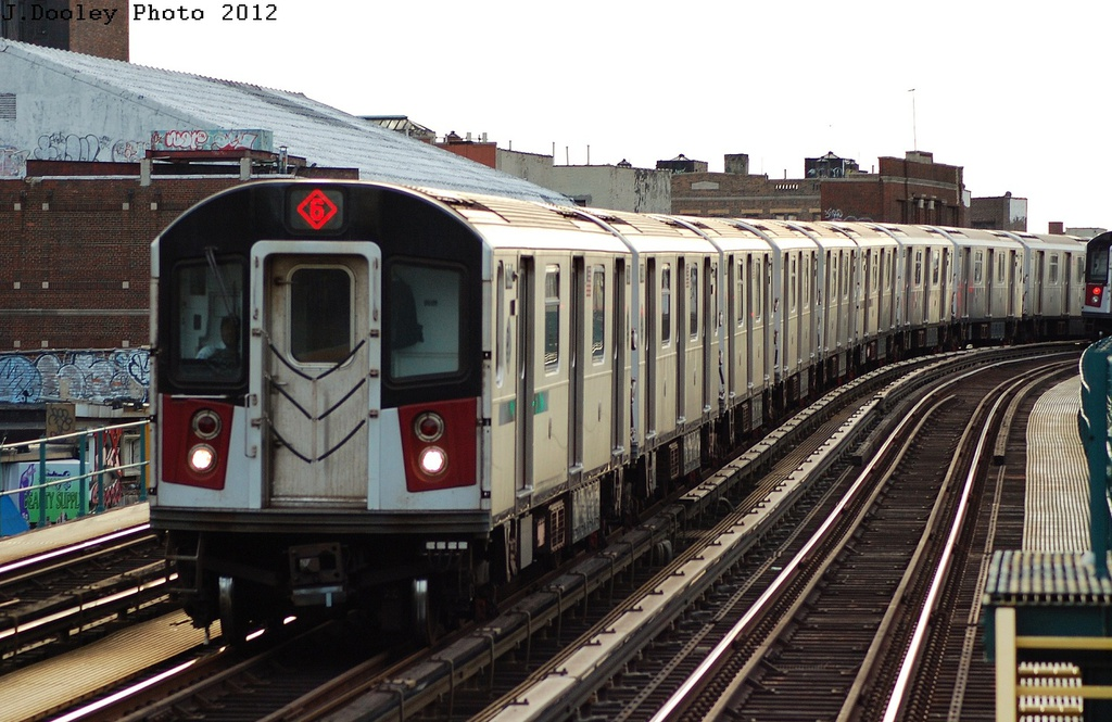 (323k, 1024x665)<br><b>Country:</b> United States<br><b>City:</b> New York<br><b>System:</b> New York City Transit<br><b>Line:</b> IRT Pelham Line<br><b>Location:</b> Morrison/Soundview Aves. <br><b>Route:</b> 6<br><b>Car:</b> R-142 or R-142A (Number Unknown)  <br><b>Photo by:</b> John Dooley<br><b>Date:</b> 2/22/2012<br><b>Viewed (this week/total):</b> 0 / 448
