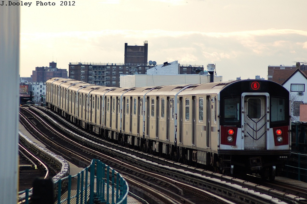 (318k, 1024x680)<br><b>Country:</b> United States<br><b>City:</b> New York<br><b>System:</b> New York City Transit<br><b>Line:</b> IRT Pelham Line<br><b>Location:</b> East 177th Street/Parkchester <br><b>Route:</b> 6<br><b>Car:</b> R-142 or R-142A (Number Unknown)  <br><b>Photo by:</b> John Dooley<br><b>Date:</b> 2/22/2012<br><b>Viewed (this week/total):</b> 1 / 296