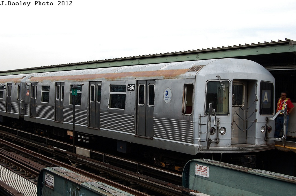 (288k, 1024x680)<br><b>Country:</b> United States<br><b>City:</b> New York<br><b>System:</b> New York City Transit<br><b>Line:</b> IND Fulton Street Line<br><b>Location:</b> 104th Street/Oxford Ave. <br><b>Route:</b> A<br><b>Car:</b> R-42 (St. Louis, 1969-1970)  4807 <br><b>Photo by:</b> John Dooley<br><b>Date:</b> 5/30/2012<br><b>Viewed (this week/total):</b> 1 / 230