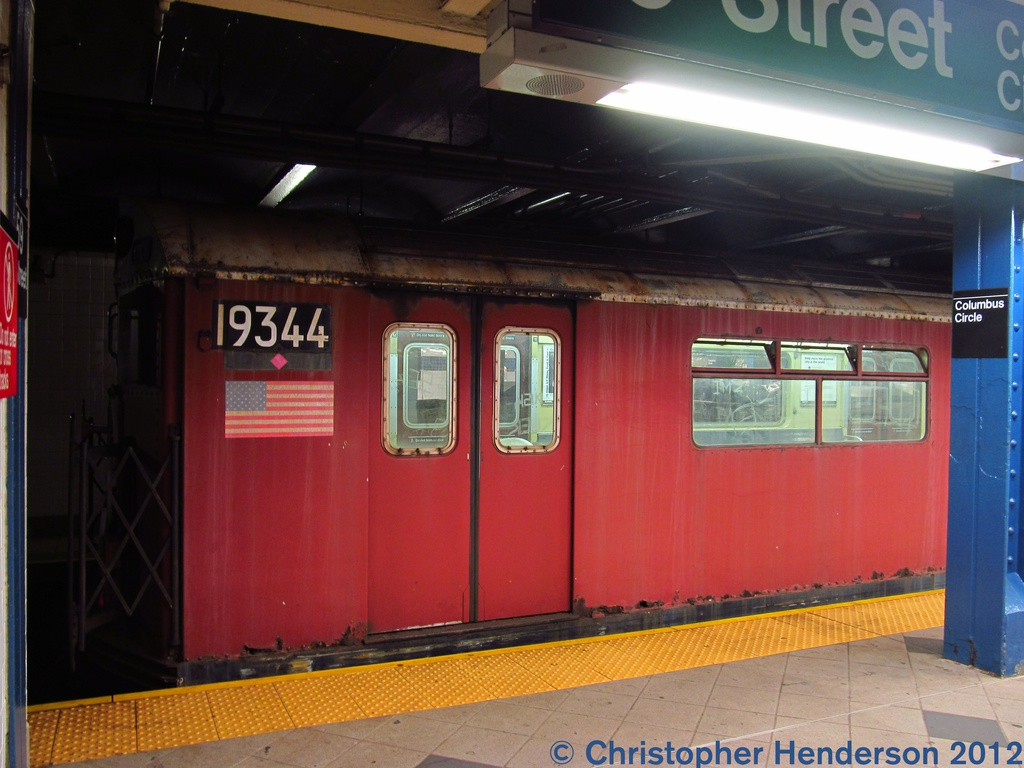 (241k, 1024x768)<br><b>Country:</b> United States<br><b>City:</b> New York<br><b>System:</b> New York City Transit<br><b>Line:</b> IND 8th Avenue Line<br><b>Location:</b> 59th Street/Columbus Circle <br><b>Route:</b> Work Service<br><b>Car:</b> R-33 World's Fair (St. Louis, 1963-64) 9344 <br><b>Photo by:</b> Christopher Henderson<br><b>Date:</b> 7/25/2012<br><b>Viewed (this week/total):</b> 1 / 762