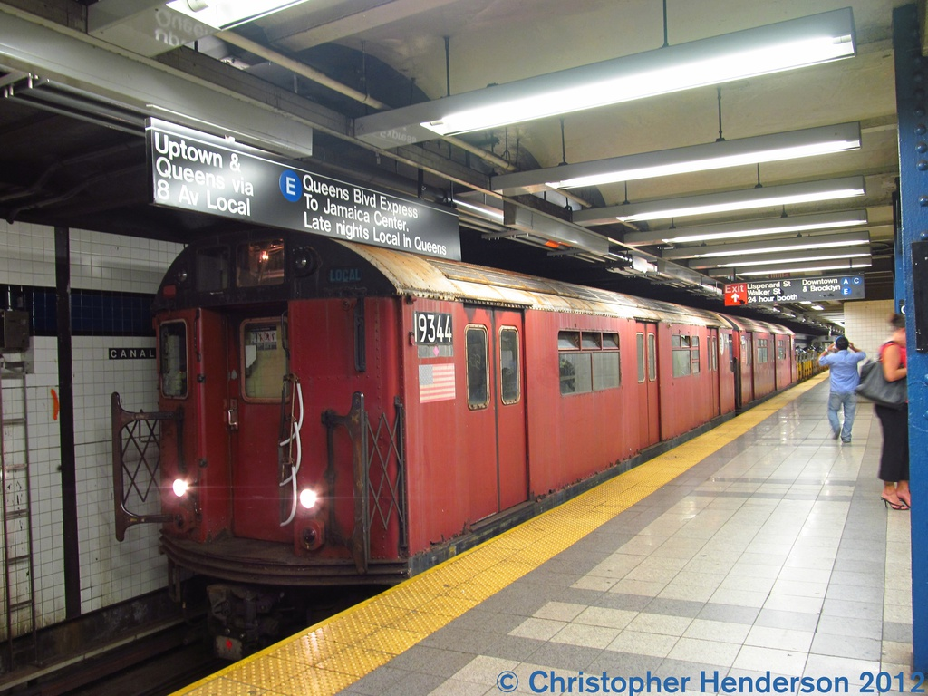 (287k, 1024x768)<br><b>Country:</b> United States<br><b>City:</b> New York<br><b>System:</b> New York City Transit<br><b>Line:</b> IND 8th Avenue Line<br><b>Location:</b> Canal Street-Holland Tunnel <br><b>Route:</b> Work Service<br><b>Car:</b> R-33 World's Fair (St. Louis, 1963-64) 9344 <br><b>Photo by:</b> Christopher Henderson<br><b>Date:</b> 7/26/2012<br><b>Viewed (this week/total):</b> 6 / 1040