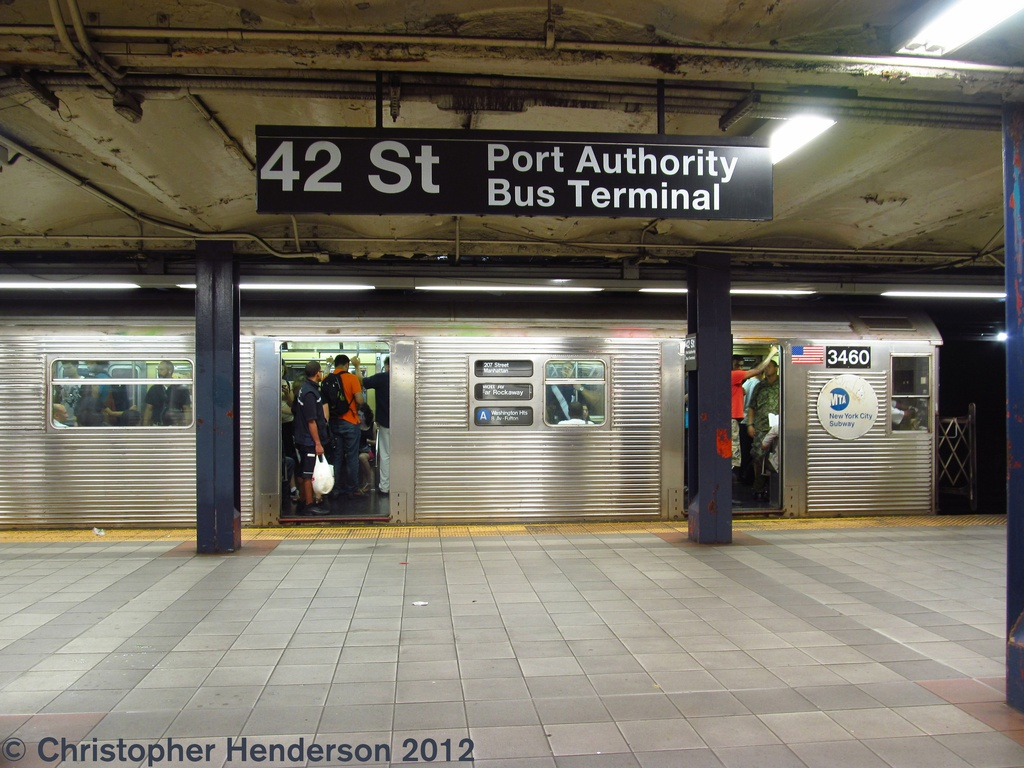 (286k, 1024x768)<br><b>Country:</b> United States<br><b>City:</b> New York<br><b>System:</b> New York City Transit<br><b>Line:</b> IND 8th Avenue Line<br><b>Location:</b> 42nd Street/Port Authority Bus Terminal <br><b>Route:</b> A<br><b>Car:</b> R-32 (Budd, 1964)  3460 <br><b>Photo by:</b> Christopher Henderson<br><b>Date:</b> 7/26/2012<br><b>Viewed (this week/total):</b> 5 / 2056