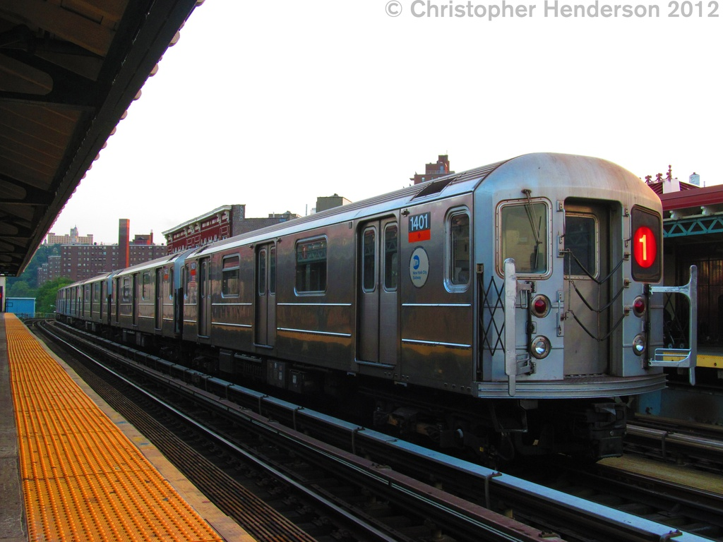(238k, 1024x768)<br><b>Country:</b> United States<br><b>City:</b> New York<br><b>System:</b> New York City Transit<br><b>Line:</b> IRT West Side Line<br><b>Location:</b> 207th Street <br><b>Route:</b> 1<br><b>Car:</b> R-62 (Kawasaki, 1983-1985)  1401 <br><b>Photo by:</b> Christopher Henderson<br><b>Date:</b> 8/2/2012<br><b>Viewed (this week/total):</b> 1 / 928