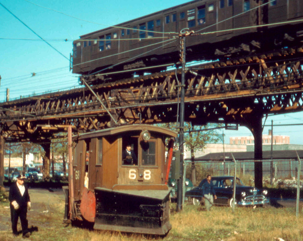 (344k, 1024x813)<br><b>Country:</b> United States<br><b>City:</b> New York<br><b>System:</b> New York City Transit<br><b>Location:</b> Coney Island Yard<br><b>Car:</b> Snow Plow 68 & 69 <br><b>Photo by:</b> Frank Pfuhler<br><b>Date:</b> 11/6/1956<br><b>Viewed (this week/total):</b> 1 / 1104