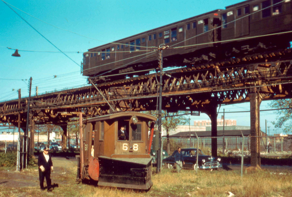 (307k, 1024x692)<br><b>Country:</b> United States<br><b>City:</b> New York<br><b>System:</b> New York City Transit<br><b>Location:</b> Coney Island Yard<br><b>Car:</b> Snow Plow 68 & 69 <br><b>Photo by:</b> Frank Pfuhler<br><b>Date:</b> 11/6/1956<br><b>Viewed (this week/total):</b> 1 / 1068