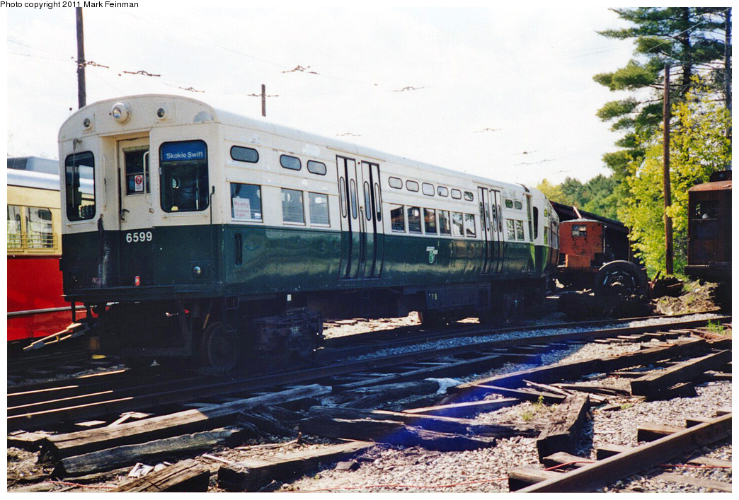 (416k, 1044x707)<br><b>Country:</b> United States<br><b>City:</b> Kennebunk, ME<br><b>System:</b> Seashore Trolley Museum <br><b>Car:</b> CTA 6000 Series 6599/6600 <br><b>Photo by:</b> Mark S. Feinman<br><b>Date:</b> 1994<br><b>Viewed (this week/total):</b> 1 / 226
