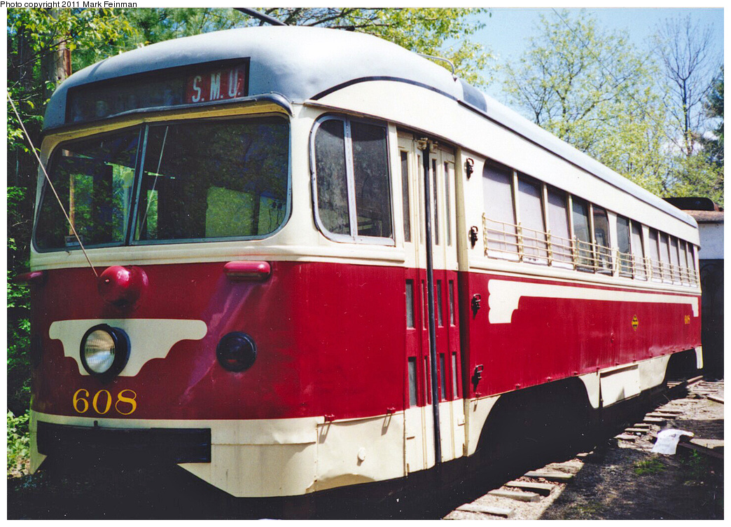 (437k, 1044x752)<br><b>Country:</b> United States<br><b>City:</b> Kennebunk, ME<br><b>System:</b> Seashore Trolley Museum <br><b>Car:</b> Dallas Railway & Terminal PCC Double End (Pullman-Standard, 1945)  608 <br><b>Photo by:</b> Mark S. Feinman<br><b>Date:</b> 1994<br><b>Viewed (this week/total):</b> 1 / 150