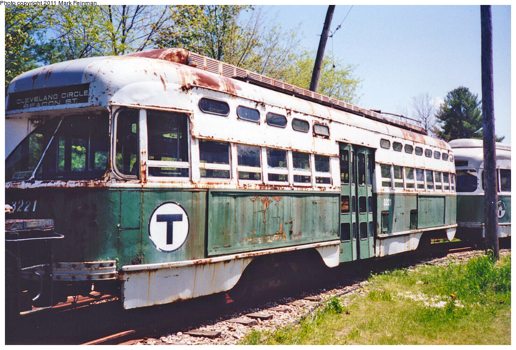 (486k, 1044x708)<br><b>Country:</b> United States<br><b>City:</b> Kennebunk, ME<br><b>System:</b> Seashore Trolley Museum <br><b>Car:</b> MBTA/BSRy PCC Post-War All Electric (Pullman-Standard, 1946)  3221 <br><b>Photo by:</b> Mark S. Feinman<br><b>Date:</b> 1994<br><b>Viewed (this week/total):</b> 3 / 470