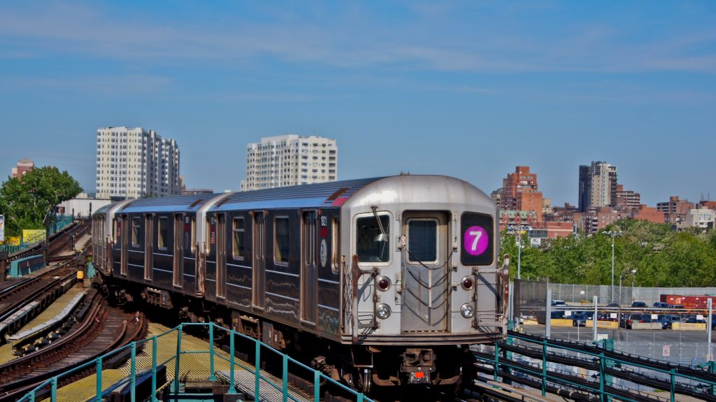 (135k, 1024x575)<br><b>Country:</b> United States<br><b>City:</b> New York<br><b>System:</b> New York City Transit<br><b>Line:</b> IRT Flushing Line<br><b>Location:</b> Willets Point/Mets (fmr. Shea Stadium) <br><b>Route:</b> 7<br><b>Car:</b> R-62A (Bombardier, 1984-1987)  1921 <br><b>Photo by:</b> Robert Fein<br><b>Date:</b> 5/12/2012<br><b>Viewed (this week/total):</b> 4 / 605