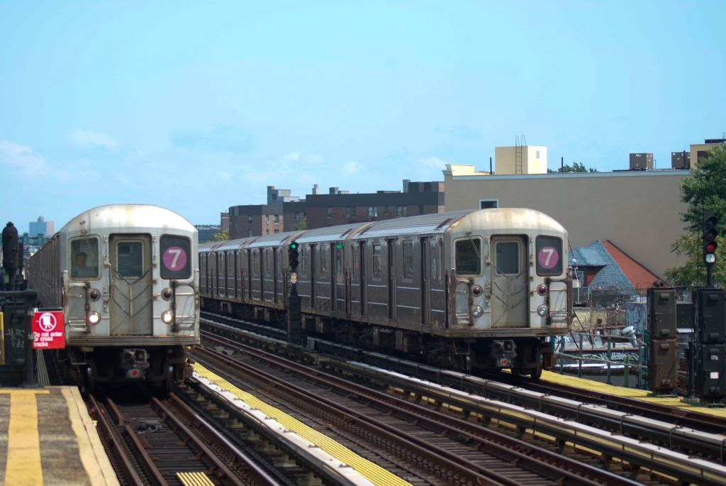 (133k, 1024x685)<br><b>Country:</b> United States<br><b>City:</b> New York<br><b>System:</b> New York City Transit<br><b>Line:</b> IRT Flushing Line<br><b>Location:</b> 82nd Street/Jackson Heights <br><b>Route:</b> 7<br><b>Car:</b> R-62A (Bombardier, 1984-1987)   <br><b>Photo by:</b> Robert Fein<br><b>Date:</b> 8/21/2011<br><b>Viewed (this week/total):</b> 0 / 750