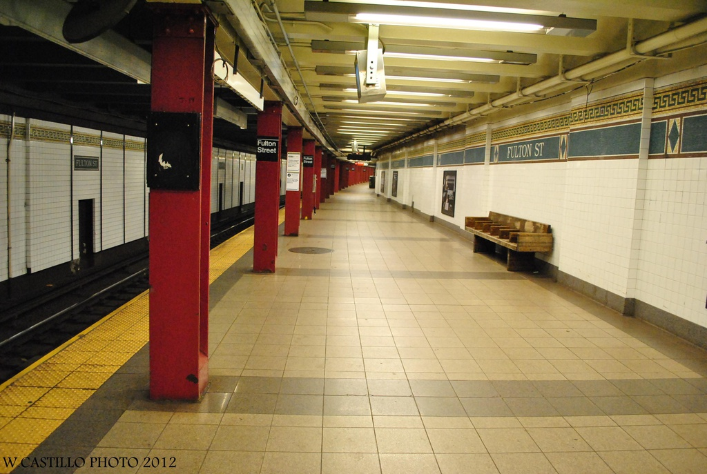 (292k, 1024x687)<br><b>Country:</b> United States<br><b>City:</b> New York<br><b>System:</b> New York City Transit<br><b>Line:</b> BMT Nassau Street/Jamaica Line<br><b>Location:</b> Fulton Street <br><b>Photo by:</b> Wilfredo Castillo<br><b>Date:</b> 8/8/2012<br><b>Viewed (this week/total):</b> 4 / 323