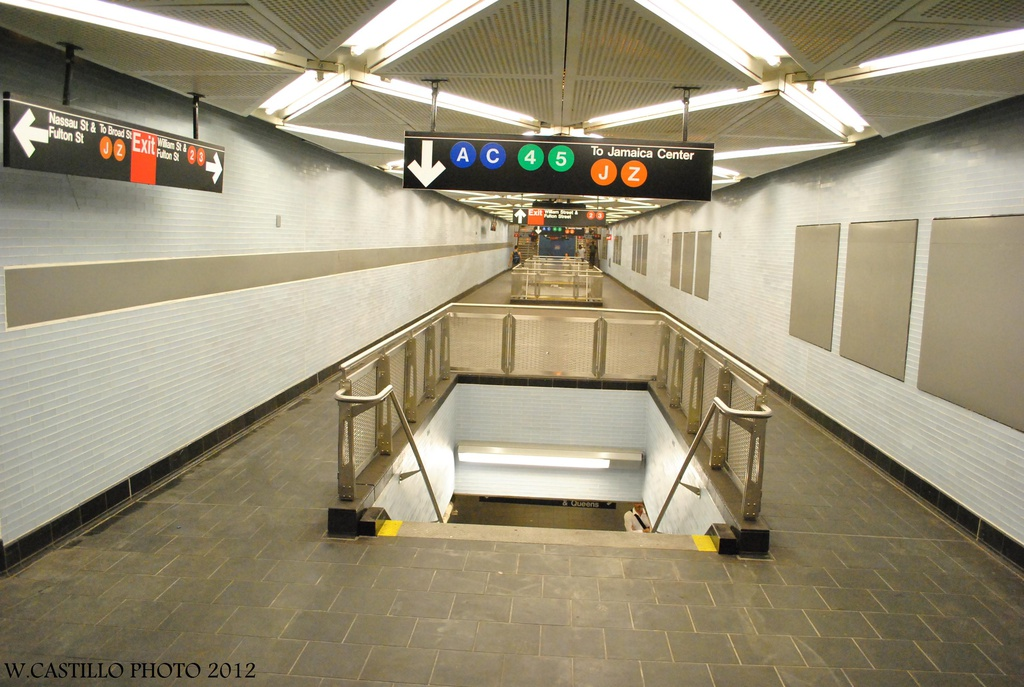 (294k, 1024x687)<br><b>Country:</b> United States<br><b>City:</b> New York<br><b>System:</b> New York City Transit<br><b>Line:</b> IND 8th Avenue Line<br><b>Location:</b> Fulton Street (Broadway/Nassau) <br><b>Photo by:</b> Wilfredo Castillo<br><b>Date:</b> 8/8/2012<br><b>Notes:</b> New mezzanine.<br><b>Viewed (this week/total):</b> 5 / 1844
