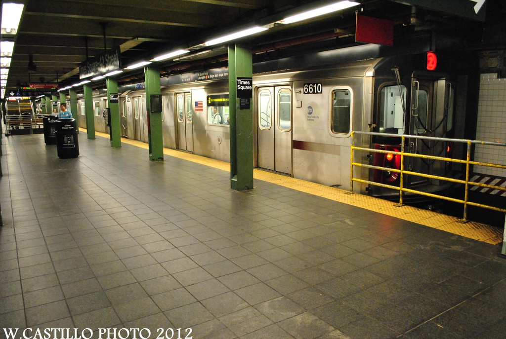 (310k, 1024x687)<br><b>Country:</b> United States<br><b>City:</b> New York<br><b>System:</b> New York City Transit<br><b>Line:</b> IRT West Side Line<br><b>Location:</b> Times Square/42nd Street <br><b>Route:</b> 2<br><b>Car:</b> R-142 (Primary Order, Bombardier, 1999-2002)  6610 <br><b>Photo by:</b> Wilfredo Castillo<br><b>Date:</b> 8/18/2012<br><b>Viewed (this week/total):</b> 3 / 533