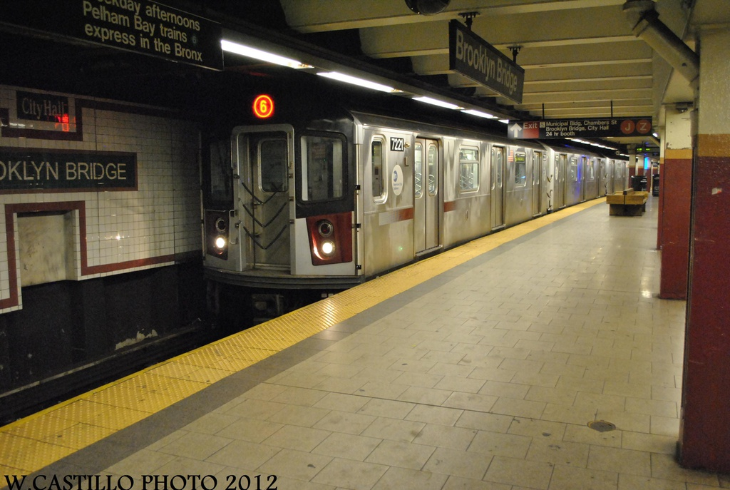 (274k, 1024x687)<br><b>Country:</b> United States<br><b>City:</b> New York<br><b>System:</b> New York City Transit<br><b>Line:</b> IRT East Side Line<br><b>Location:</b> Brooklyn Bridge/City Hall <br><b>Route:</b> 6<br><b>Car:</b> R-142A (Primary Order, Kawasaki, 1999-2002)  7221 <br><b>Photo by:</b> Wilfredo Castillo<br><b>Date:</b> 8/23/2012<br><b>Viewed (this week/total):</b> 1 / 355