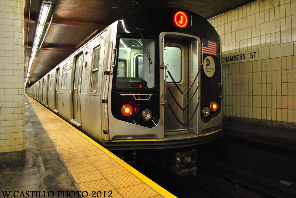 (298k, 1024x687)<br><b>Country:</b> United States<br><b>City:</b> New York<br><b>System:</b> New York City Transit<br><b>Line:</b> BMT Nassau Street/Jamaica Line<br><b>Location:</b> Chambers Street <br><b>Route:</b> J<br><b>Car:</b> R-160A-1 (Alstom, 2005-2008, 4 car sets)  8373 <br><b>Photo by:</b> Wilfredo Castillo<br><b>Date:</b> 8/23/2012<br><b>Viewed (this week/total):</b> 2 / 1041