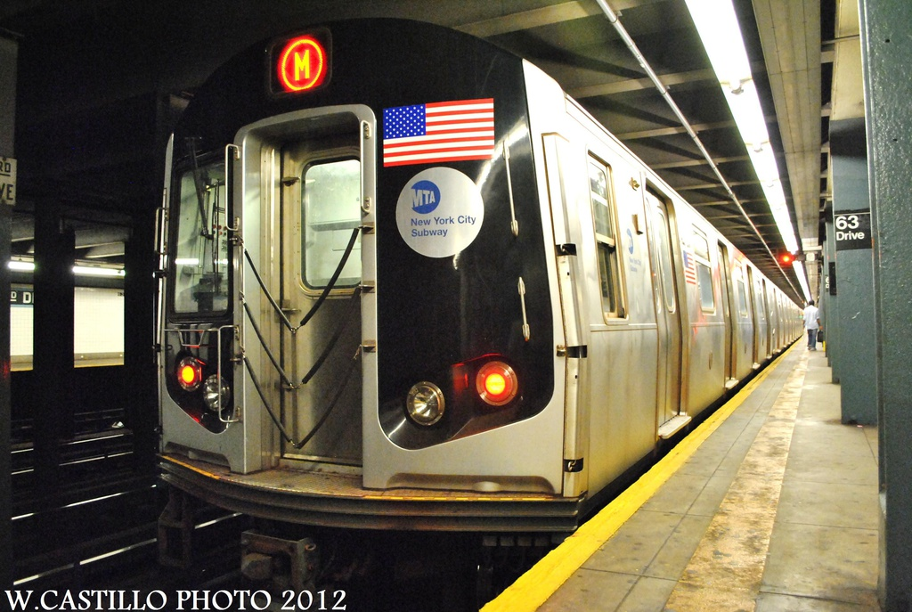 (320k, 1024x687)<br><b>Country:</b> United States<br><b>City:</b> New York<br><b>System:</b> New York City Transit<br><b>Line:</b> IND Queens Boulevard Line<br><b>Location:</b> 63rd Drive/Rego Park <br><b>Route:</b> M<br><b>Car:</b> R-160A-1 (Alstom, 2005-2008, 4 car sets)  8501 <br><b>Photo by:</b> Wilfredo Castillo<br><b>Date:</b> 8/24/2012<br><b>Viewed (this week/total):</b> 2 / 890