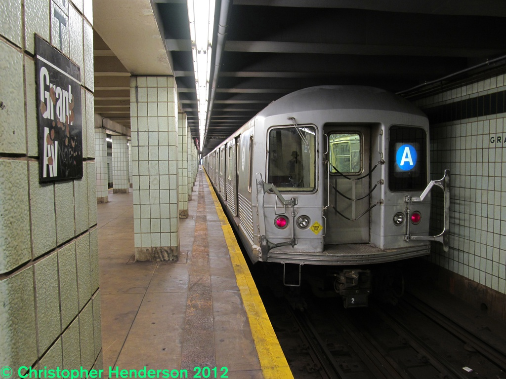 (268k, 1024x768)<br><b>Country:</b> United States<br><b>City:</b> New York<br><b>System:</b> New York City Transit<br><b>Line:</b> IND Fulton Street Line<br><b>Location:</b> Grant Avenue <br><b>Route:</b> A<br><b>Car:</b> R-42 (St. Louis, 1969-1970)  4839 <br><b>Photo by:</b> Christopher Henderson<br><b>Date:</b> 9/28/2012<br><b>Viewed (this week/total):</b> 3 / 1308