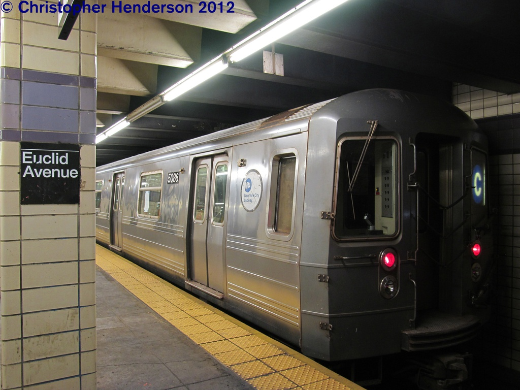 (248k, 1024x768)<br><b>Country:</b> United States<br><b>City:</b> New York<br><b>System:</b> New York City Transit<br><b>Line:</b> IND Fulton Street Line<br><b>Location:</b> Euclid Avenue <br><b>Route:</b> C<br><b>Car:</b> R-68A (Kawasaki, 1988-1989)  5086 <br><b>Photo by:</b> Christopher Henderson<br><b>Date:</b> 29/2012/9<br><b>Viewed (this week/total):</b> 1 / 815